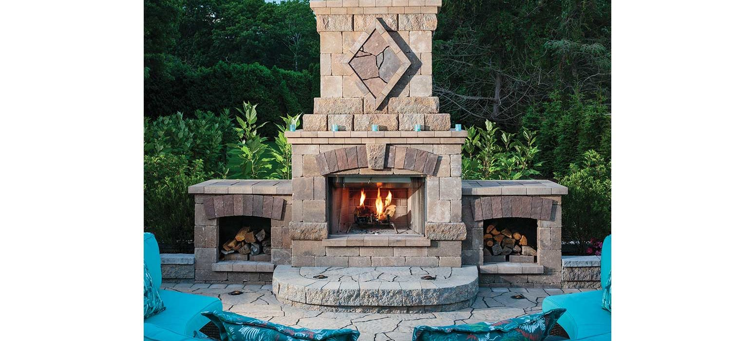 Outdoor fireplace on patio in Rhode Island Cranston
