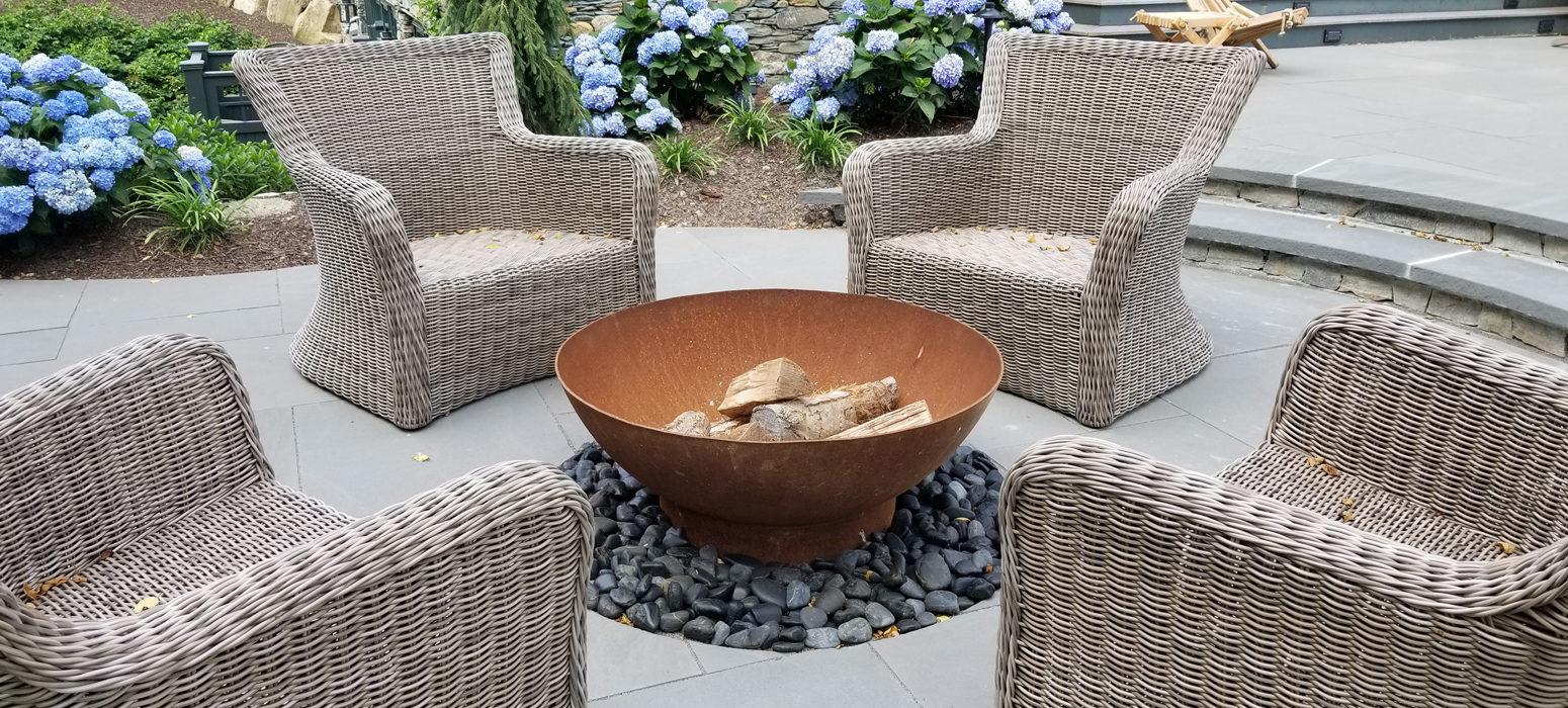 Backyard fire pit on patio design Rhode Island