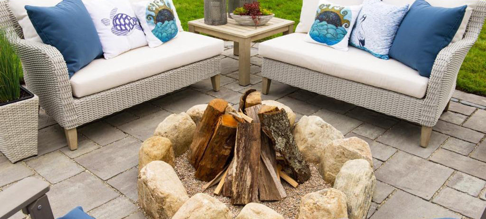 Paver Patio with fire pit Rhode Island